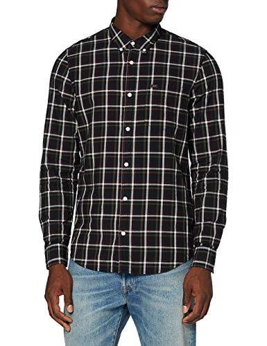Lee Button Down Camisa Abotonada, Negro, L para Hombre