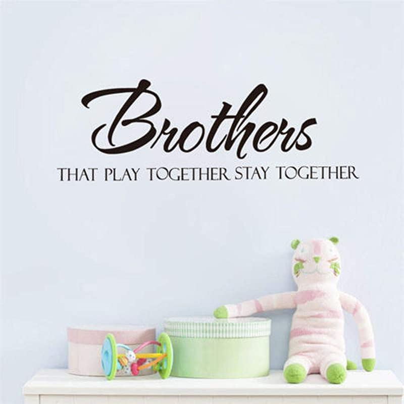 BUCKOO Brothers Stay Together Quote Wall Sticker Boys Kids Room Wall Decal Vinyl DIY Home Decor Black