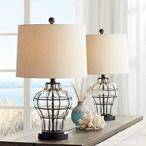 Hudson Modern Farmhouse Table Lamps Set of 2 Dark Bronze Clear Blown Glass Gourd Burlap Fabric product image