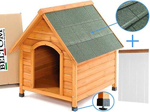 Beltom Cuccia XL in Legno per Cane Cani di Taglia Grande + Tendina Termica in PVC + Piedini Regolabili in Altezza - Nuova - CUCCE da Esterno - Extralarge