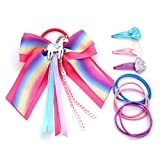 Rainbow Cheer Bows Hair Ties Elastics Glittery Pastel Snap Hair Clips Unicorn Hair Accessories