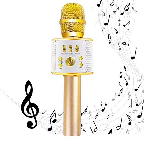 Diyomate Wireless Bluetooth Karaoke Microphone Handheld KTV Home Mic Singing Speaker Player Party Birthday Professional Microphones for iOS/Android (Gold)