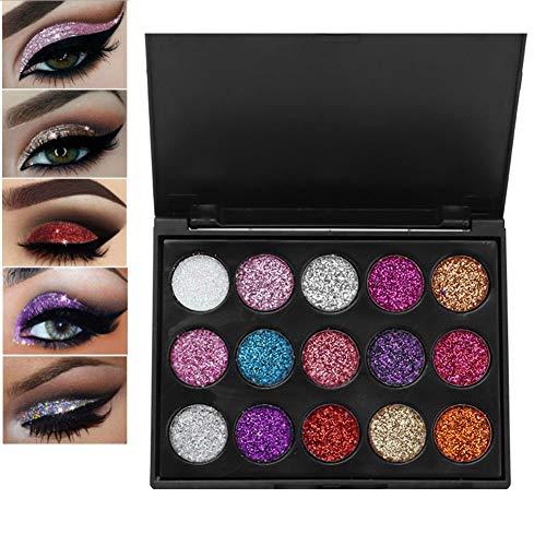 15 Colores Paleta de sombra de ojos a prueba de agua y brillo, Polvo cosmético de sombra de ojos brillante