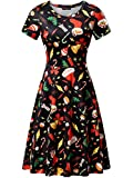 FENSACE Christmas Party Dress, Womens Ugly Christmas Sweater Party Xmas Dress (Small, Bell&Hat Black)
