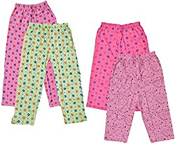 IndiWeaves Girls Cotton Capri and Pyjama/Lower/Trackpants (Pack of 4)