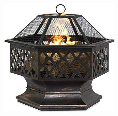 Fire Pit, 24 Inch Steel Distressed Bronze Lattice Design Fire Pit with Cover