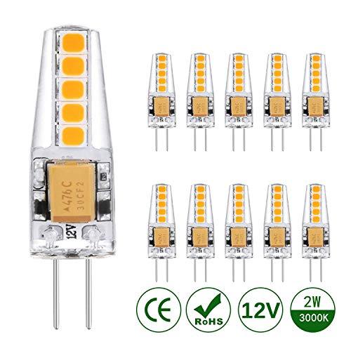 KOHREE G4 LED Lampen 2W LED Birnen Ersatz 20W Halogenlampen 3000K Warmweiß 220lm 12V AC/DC LED Leuchtmittel G4 LED Birne Kein Flackern Nicht Dimmbar 360°Lichtwinkel Stiftsockellampe Glühbirnen 10er