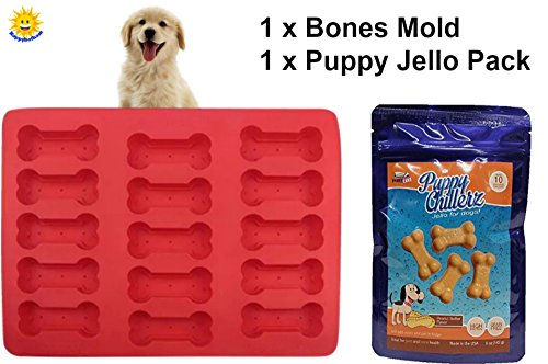 Dog Bones Mold Treat Kit | Food Grade Silicone Baking Mold For Doggy Snacks | Puppy Cake Puppy Chillerz Peanut Butter Flavor Jello Mix for Dogs (Grain- Free) - Great for Bone and Joint Health