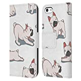 Head Case Designs Ufficiale Haroulita Bulldogs Francesi Cani E Gatti Cover in Pelle a Portafoglio Compatibile con Apple iPhone 5c