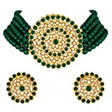 Peora Gold Plated Green Pearl Diamond Choker Necklace with Round Earrings Indian Traditional Jewellery Set for Women and Girls