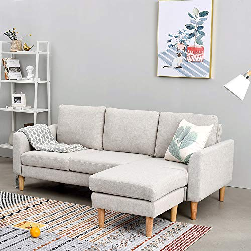 Panana 3 Seater Sofa Linen Fabric L Shaped Sofa with Footstool Corner Couch Lounge Sofa Left or Right Chaise Settee for Living Room (Beige, 3 Seater with foostool)
