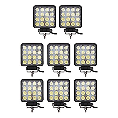 Light Bar Glotech [8Pack] 48W 4inch Square Led Work Lights Flood Beam Off Road Led Fog Lights Waterproof Driving Tractor Lamp for Trucks Jeep Boat Fishing Motorcycle