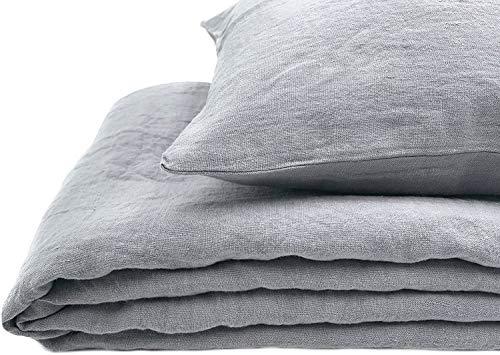 JOWOLLINA Natur Leinen Bettwäsche-Set Soft Washed Finish 180mg2 (Ultimate Gray, 135x200 cm, 40x80 cm)