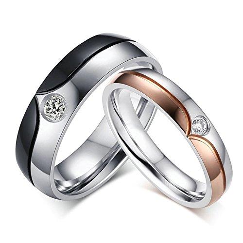 Bishilin Mode Verlobungsring Edelstahl AAA Brillant Kristall Hochglanzpoliert Trauringe Schwarz Ringe Demen Größe 52 (16.6)&Herren Größe 65 (20.7)