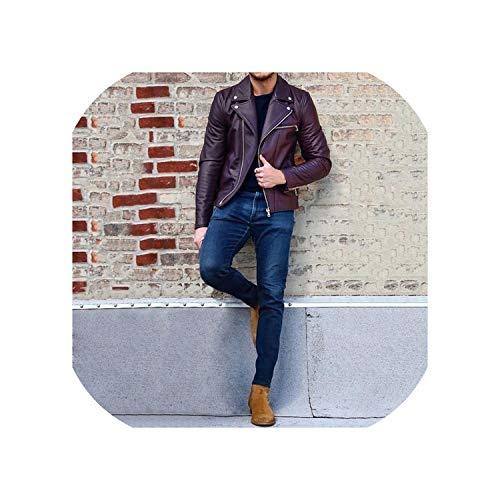 Try My Best Leather Jacket Men Streetwear Motorcycle Male Clothing Casual Biker Overcoat Windbreaker Outwear 2019,Purple,XXL