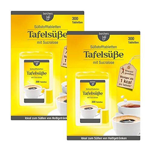 2 x borchers Sucralose Süßungstabletten, im Spender, Tafelsüße, Für Kaffee, Tee und Heißgetränke 2 x 300 Tabletten