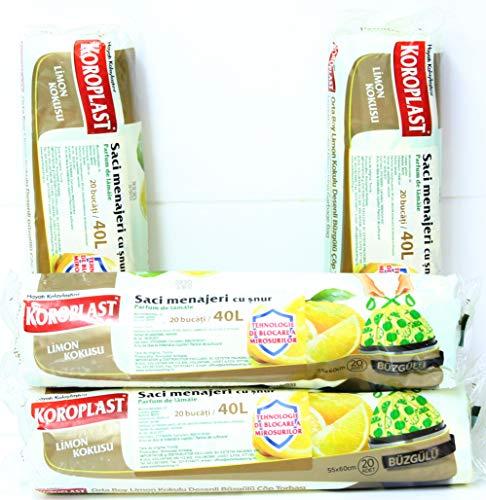 KOROPLAST 80 Zitrone Duft Müllbeutel mit Zugband, 40 Liter, 4 Rollen mit 20 Beuteln/Müllsäcke/Mülltüten/Zitrone duftend/Superstarker Zitronenduft Geruchshemmende Technologie