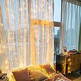 LED Lichtervorhang 3x3m 300 LEDs, IP44 & 8 Modi Lichterkettenvorhang, Lichterkette Wasserfall Anschließbar-biszu3Sätze für Weihnachten, Party, Schlafzimmer, Innen und außen Deko (Warmweiß)