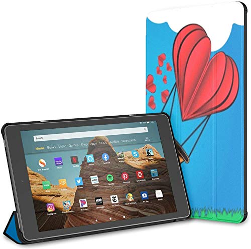 Case for All-New Amazon Fire Hd 10 Tablet (7th and 9th Generation,2017/2019 Release),Slim Folding Stand Cover with Auto Wake/Sleep for 10.1 Inch Tablet, Tree Red Hearts Balloon