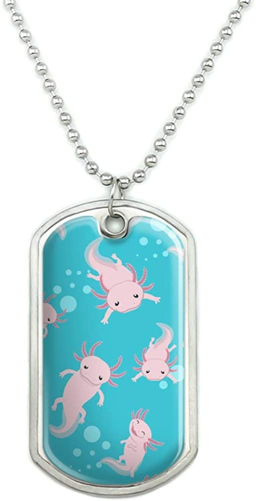 GRAPHICS & MORE Cute Axolotl Mexican Walking Fish Military Dog Tag Pendant Necklace with Chain