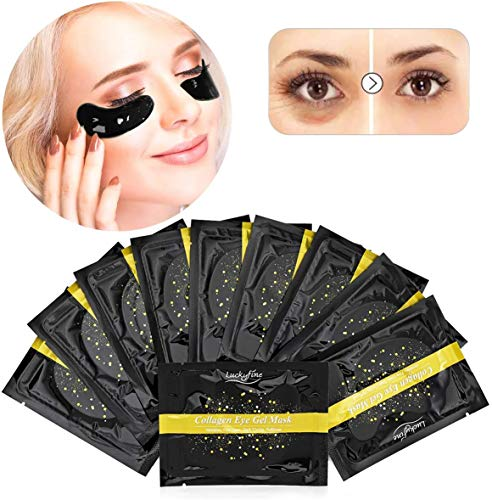 Luckyfine Mascarilla Ojos Colageno, Parche para Ojos, Eye Mask, Reducir las Arrugas y Líneas Finas, Eliminar las Ojeras y Bolsas