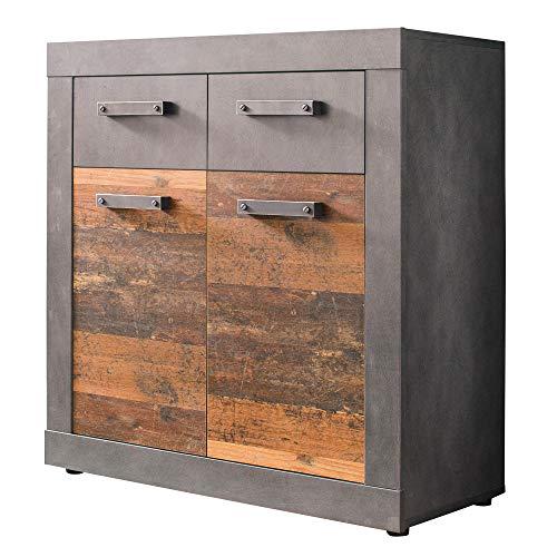 trendteam smart living Garderobe Schuhschrank Kommode Indy, 82 x 86 x 37 cm in Korpus Graphit Grau, Front Old Wood NB mit viel Stauraum