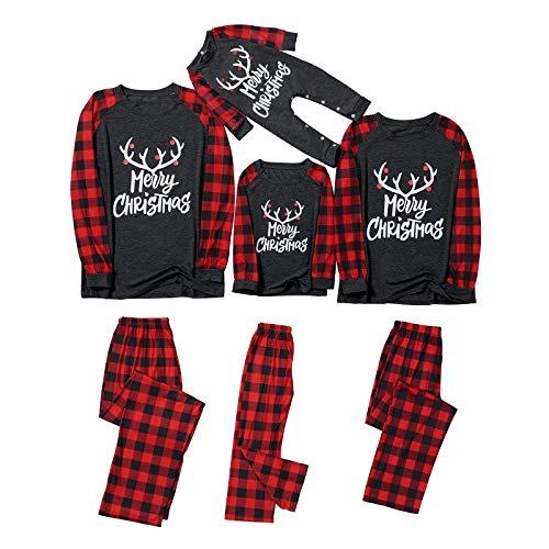 Matching Family Home Outfits Sets,Merry Christmas Printed Raglan Long Sleeve Tops+Classic Plaid Print Pants Christmas Pjs