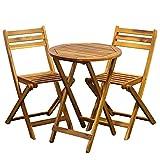 Conjunto de muebles de jardín de 3 piezas, 2 sillas + 1 mesa, de madera, plegable, resistente a la intemperie, para jardín, balcón, terraza (mesa redonda)