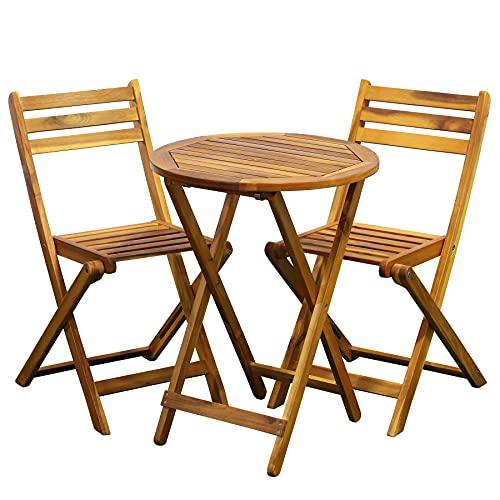 Set di mobili da giardino, 3 pezzi, 2 sedie + 1 tavolo, pieghevole, resistente alle intemperie, per giardino, balcone, terrazza (tavolo rotondo)
