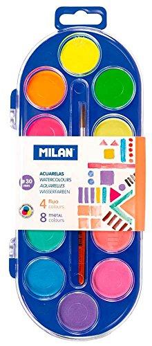 Milan 0531512 - Acuarelas con 12 pastillas y un pincel