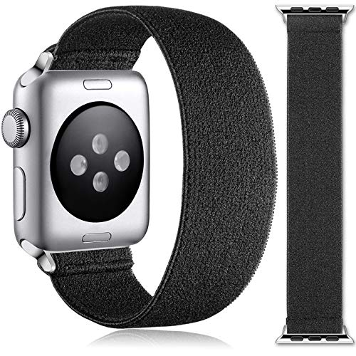 Muranne Stretchy Bands Compatible with Apple Watch SE 38mm 40mm for Women Men, Stylish Scrunchie Stretch Bracelet Loop Adjustable Elastic Band for iWatch Series 6 5 4 3 2 1, 38mm/40mm Medium, Black