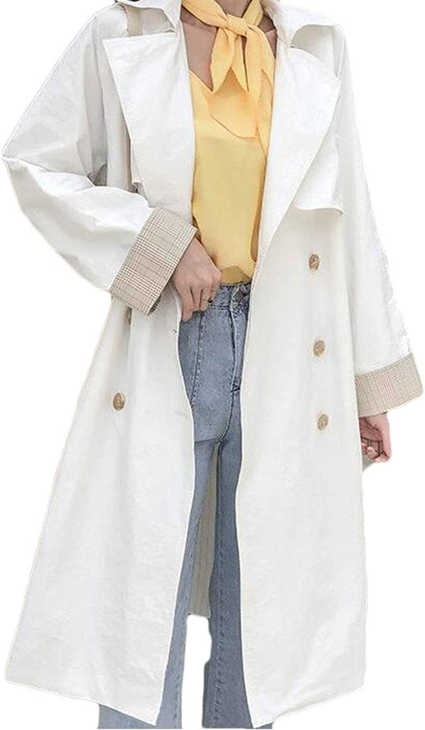 Pandapang Women Single Breasted Loose Fit Belted Notched Lapel Trench Coat