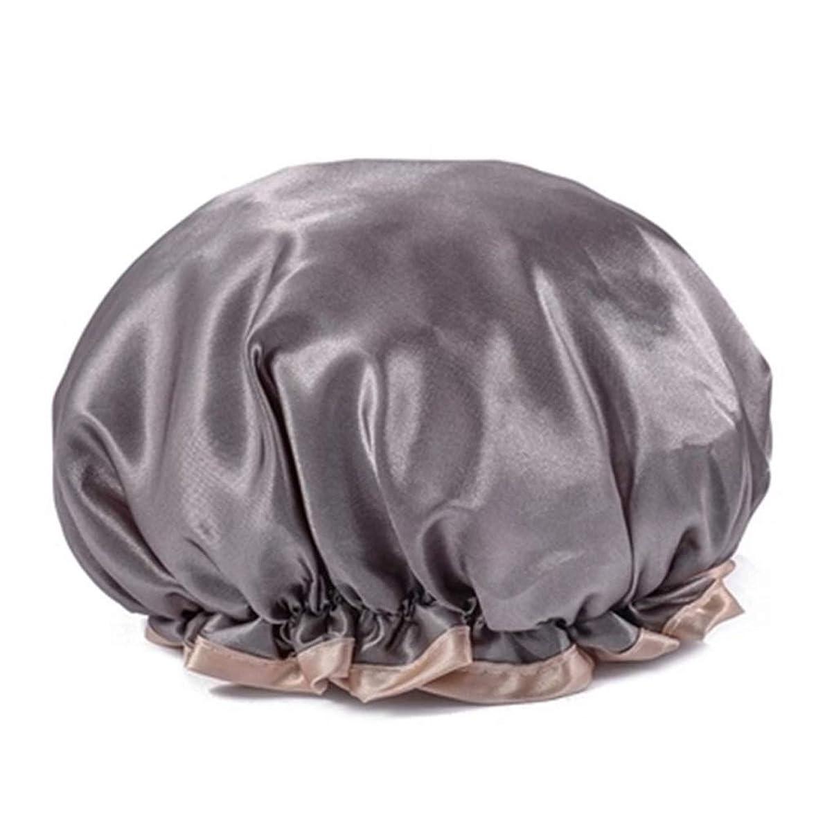 いわゆるトンヤギシャワーキャップ 可愛い ヘアキャップ フリーサイズ 防水帽 入浴チャップ 浴用帽子 サロンの髪を保護する帽子 お風呂 旅行セット 繰り返す使用可能 化粧帽 油煙を防ぐ ヘアーターバン (グレー)