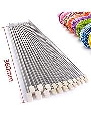 """Rayinblue 11pares de 14""""(36cm) Agujas de tejer de una punta de acero inoxidable en estuche 2,0mm, 2,5mm, 3,0mm, 3,5mm, 4,0mm, 4,5mm, 5,0mm, 5,5mm, 6,0mm 7.0mm 8.0mm"""