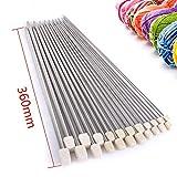 Rayinblue 11pares de 14'(36cm) Agujas de tejer de una punta de acero inoxidable en estuche 2,0mm, 2,5mm, 3,0mm, 3,5mm, 4,0mm, 4,5mm, 5,0mm, 5,5mm, 6,0mm 7.0mm 8.0mm