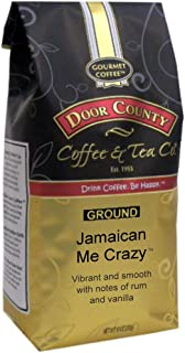 Door County Coffee, Jamaican Me Crazy, Rum & Vanilla Flavored Coffee, Medium Roast, Ground Coffee, 10 oz Bag