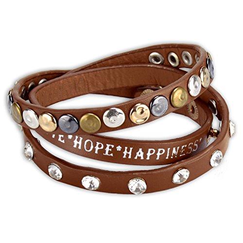 WOP ART Armband Wickelarmband Modell Snuggel® mit Straßsteinen, Nieten und Schriftzug Hope, Happines und Love (Braun)