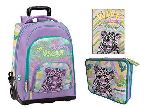 Kit Completo TROLLEY ZAINO scuola WWF A Living Planet Girl Pink 2020 + ASTUCCIO 2 PIANI COMPLETO + DIARIO Datato 2020 21 tigre tigrotto + omaggio penna glitterate e portachiave con paillettes