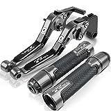 Puños de Moto para KAW&ASAKI para Vulc&AN S 650 Palanca de Embrague de Freno de Motocicleta y empuñadura de Manillar palancas de Manillar Ajustables de Carreras Agarraderas para Moto (Color : Gray)