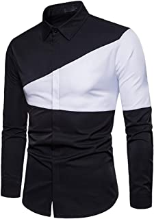 lcky Men's Fashion Button Shirt Slim Fit Long Sleeve Casual Buttoned Shirt