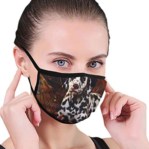 Wrution Dalmatiner Hund Kürbisse Halloween Gesicht Mund Maske Staubmasken Filter Sicherheitsmasken für Männer Frauen Outdoor Sport maßgeschneidert