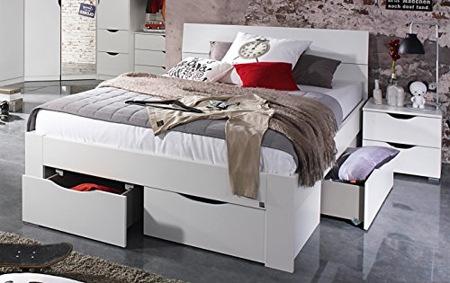 Bloominghome Bett mit 4 Schubkästen alpinweiß 160 x 200 cm Schubladenbett Funktionsbett