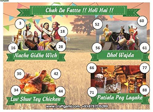 Craftgami - Punjabi Masti Holi Theme Tambola Tickets - Housie Tickets (24 Tickets)
