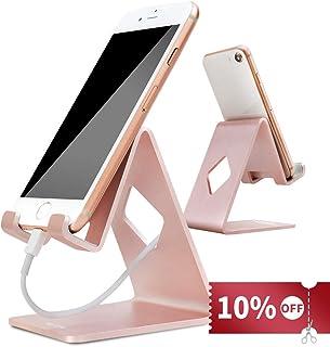 スマホ スタンド,HOTOR スマホホルダー Phone&Android などほとんどのスマートフォン 対応 シンプルで実用 充電スタンド (ローズゴールド)