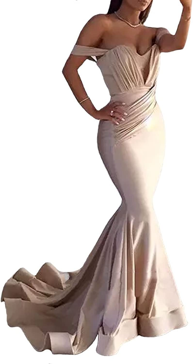 GMAR Drop Shoulder Mermaid Evening Dresses for Women Formal Prom Gown with Train
