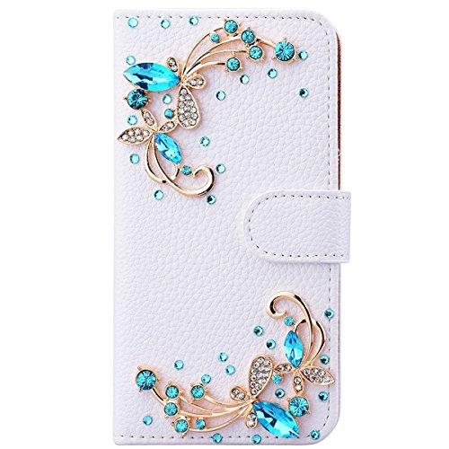 Awenroy Glitzer Hülle für Wiko Sunny 2 Plus Strass Bling Handy Tasche Flip PU Leder Wallet Handyhülle Kartenfach Aufstellfunktion Magnetverschluss mit Stand Funktion - Weiß