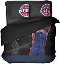 Ebedr Basketball Player Number 1 Bedding Detroit Bed Set Cotton Bedspread Blue Quilt Covers Queen Covers 3PCS