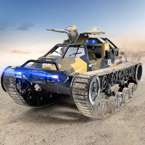 Ruko RC Tank, 1:12 Scale All Terrain Remote Control Cars for Adults, High Speed Spraying RC Trucks with 2 Batteries, 45 Mins Play, 360°Rotating Drifting, Gifts for Boys and Girls