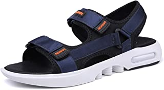AiHua Huang Outdoor Sandals for Men Breathable Beach Shoes Open Toe Fashion Summer Hiking Walking Flat Sandals Cloth Hook&Loop Strap Anti-Slip (Color : Blue, Size : 7.5 UK)