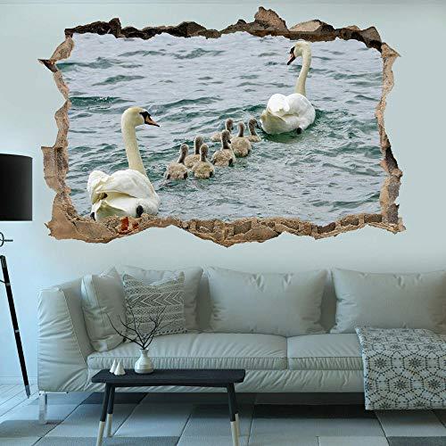 3D Etiqueta De La Pared Cisnes y pichones del estanque del lago 40X60 CM pegatinas de pared arte mural calcomanía oficina decoración del hogar.